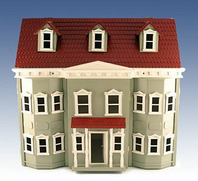 Large Traditional Green Fronted Townhouse Wooden Dolls Collectors House