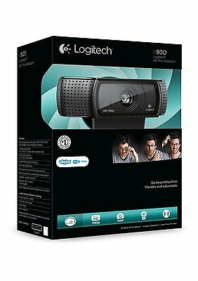 Logitech USB HD Pro C920 Webcam with Auto-Focus and Microphone - Black NEW