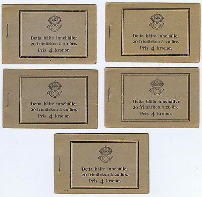 WHOLESALE - 5 SWEDEN 4 KRONER BOOKLETS of 20 ORE STAMPS SC # 170 MNH of 1921