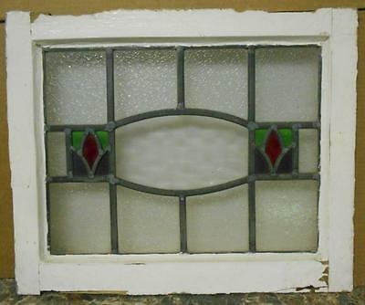 "OLD ENGLISH LEADED STAINED GLASS WINDOW Pretty Symetric Design 20.25"" x 16.75"""