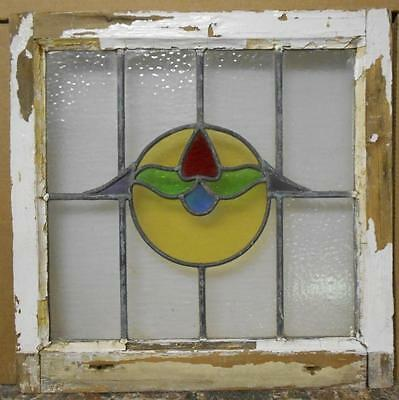 "MID SIZED OLD ENGLISH LEADED STAINED GLASS WINDOW Abstract Floral 21.25"" x 21"""