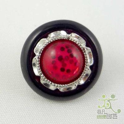 5Pcs Round Black Red Flower Sewing Resin Buttons Lot 15mm Craft Hair Bow Center