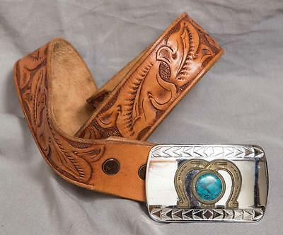 Vintage Childs Western Themed Horseshoe & Turquoise Leather Belt & Buckle egm