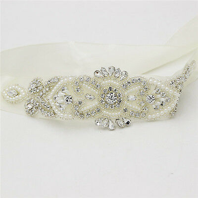 DIY Rhinestone Beaded Wedding Bridal Dress Sash Belt Beige Applique Waistband