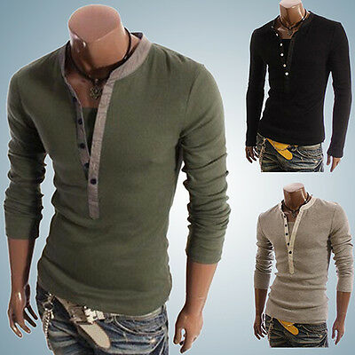 Men Button V-Neck Long Sleeve Casual Slim Fit T-Shirt Tops Tee Gorgeous