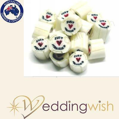 500g Rock Candy Wedding Favour/Bomboniere - Just Married, Fast Dispatch