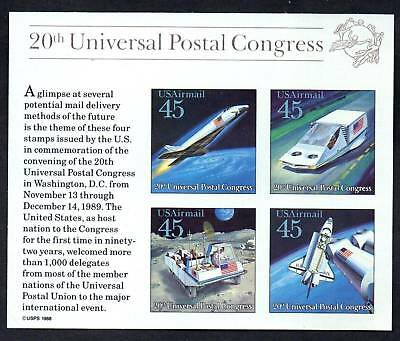 US. C126. 45c. Futuristic Mail Delivery. Souvenir Sheet of 4. 1989. Mint. NH