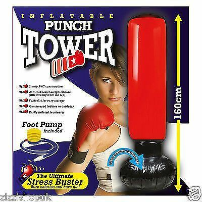 Inflatable Stress Boxing Punch Tower Free Standing Box Fun Workout Bag + Pump