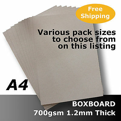 BoxBoard Backing Card ChipBoard 700gsm 1.2mm A4 Grey 100% ReCycled #B1408