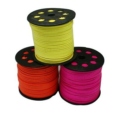 Faux Suede Leather Cord String Neon Flat 3mm UK