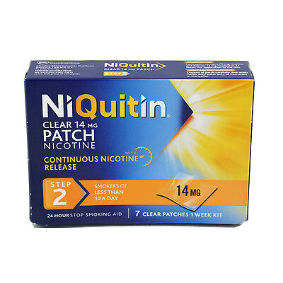 NiQuitin Clear 14mg Patch 24 Hour Step 2, 7 Patches 1 Week Kit
