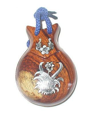 Pair of Inlay Rosewood Castanets hand carved wood wooden Spanish Flamenco