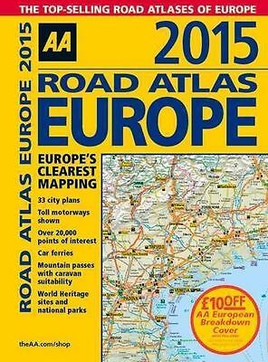 AA Road Atlas Europe 2015 Spiral, AA Publishing, Very Good, Spiral-bound