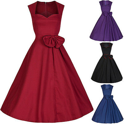 Vintage Women 50's Sleeveless Rockabilly Dress Ladies Party Evening Swing Dress