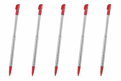 Hellfire Trading 5x Red Touch Stylus Pen Metal Retractable for Nintendo 2DS