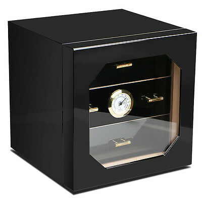 COHIBA Black Gloss Piano Finish Cedar Lined Cigar Cabinet Humidor 3 Drawers