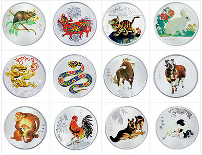 Complete Set of 12 Chinese Zodiac Silver Colour Medal