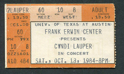 1984 Cyndi Lauper Fun Tour Concert Ticket Stub She's So Unusual Austin Texas