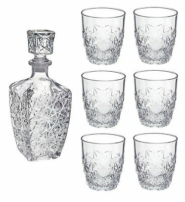 Bormioli Rocco Dedalo whisky / Spirit Decanter (750ml) / 6 Glasses Set (260ml)