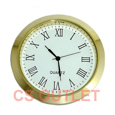 Clock Insert 60mm Bezel fit 55mm Hole, Gold, Roman Numerals, Quartz Watch