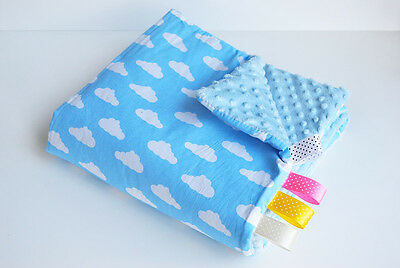 75x50 BABY pram BLANKET Cover MINKY pushchair FILLED cosy Cotton CHEVRON rose