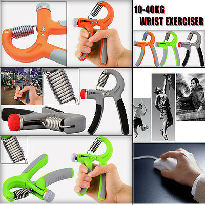 10-40kg HAND STRENGTH POWER GRIP ADJUSTABLE EXERCISER FOREARM WRIST HANDS Gray