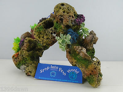 Large Lava Rock Coral Reef & Plants with Air Aquarium Ornament Fish Tank Decor