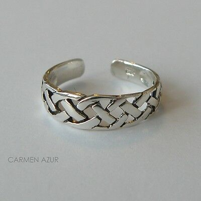 Solid 925 Sterling Silver Toe Ring Celtic Braided Design New with Gift Bag