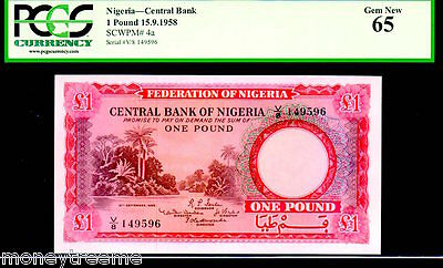 "NIGERIA  P4a  ""RIVER SCENE""  1 POUND DATED 15.9.1958  GRADED  PCGS 65!"