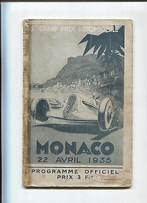 N° 7763 / Grand Prix de MONACO  22 avril 1935 , programme officiel
