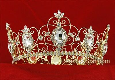 Royal Pageant Full Circle Crystal Gold Plated Men's King QueenTiara Crown Prom