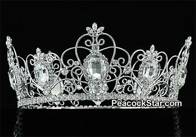 Royal Pageant Full Circle Crystal Silver Plated Men's King QueenTiara Crown Prom