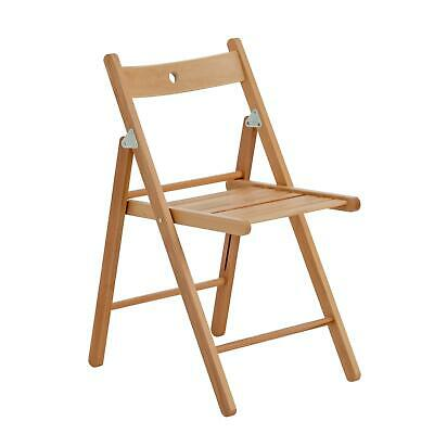Harbour Housewares Wooden Folding Chairs - Natural Wood Colour - Pack of 6