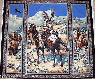 INDIAN Chief HORSE FABRIC panel quilt top NATIVE SPIRIT southwest wallhanging