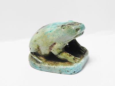Zurqieh -Q197- Ancient Egypt , Beautiful Faience Frog. 1075 - 600 B.c