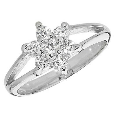 Sterling Silver Platinum Plated Childs Cluster Ring   Sizes D - J