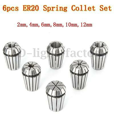 6pc ER20 Spring Collet Chuck 2mm-12mm Set For CNC Workholding Milling Lathe Tool
