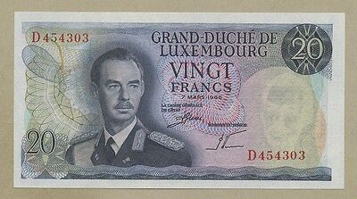 LUXEMBOURG - 20 francs  1966  P54  Uncirculated  ( Banknotes )