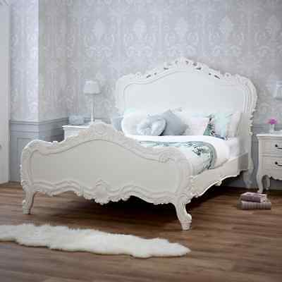 French Chateau White Painted Heavy Carved 4ft 6in Double Bed - SAN04-W4