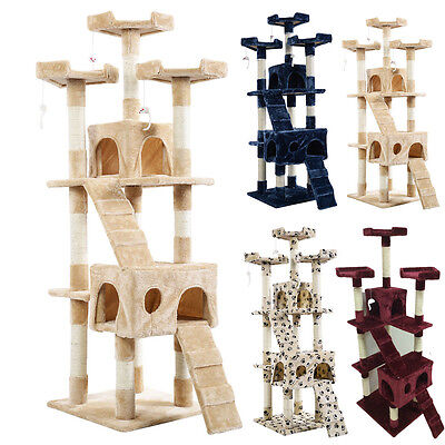 180cm Cat Tree Activity Centre Scratcher Scratching Post Sisal Toys Bed *UK TOP*