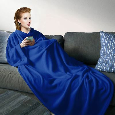 Cuddle Blanket Snuggle Plush Soft Fleece Wrap With Sleeves Winter Cosy Warm Snug