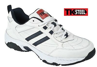 Mens Safety Work Trainers Steel Toe Cap Shoes White Leather TK Steel 8031