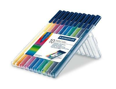 Staedtler Triplus Colour Fibre-Tip Pen Desktop Box 10 Assorted Colours 1.0mm