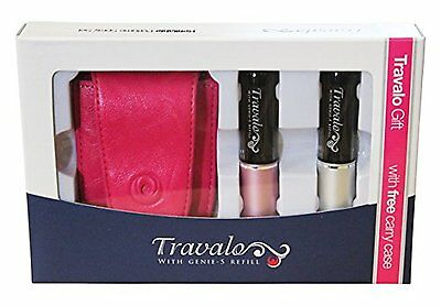Travalo Twin Pink and Silver Atomiser Gift Set with Pink Travel Carry Case