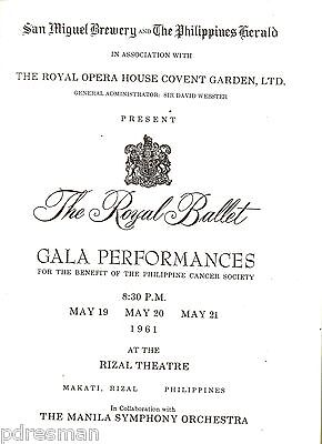 """"""" The Royal Ballet """" Gala Performance Programme. 1961 In  The Philippines."""