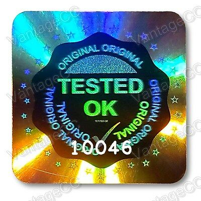 LARGE TESTED OK Security Hologram Stickers Labels, 20mm Square, QC Checked Tick