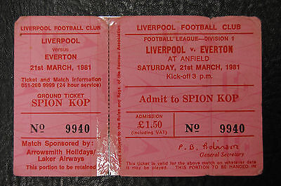 Unused Ticket  Liverpool V Everton  21/03/1981 - European Cup Winners