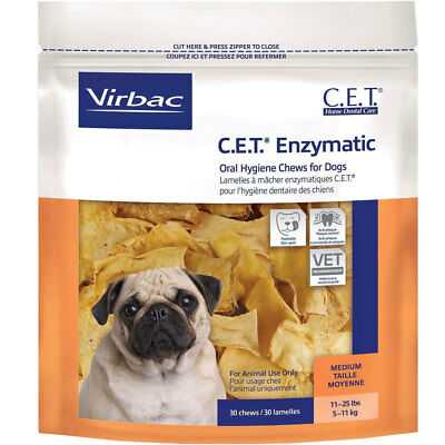 CET Premium Enzymatic Oral Hygiene Chews for Medium Dogs 11-25 lbs 30 Ct
