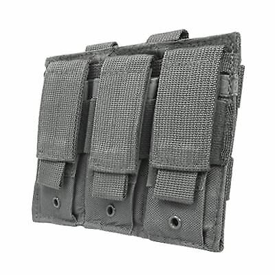 Triple Pistol Mag Pouch Durable Nylon with Hook & Loop Closure - Gray