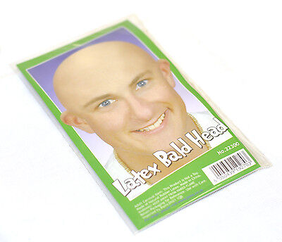 Funny Fake Bald Head Skinhead Baldy Clown Mens Ladies Fancy Dress Wig Cap Kojak